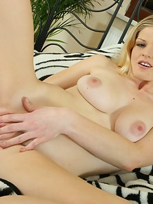 Attractive Blonde Babe Enjoying Dildo Fuck in Boobs and Licking at a Time