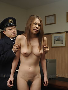 Slutty brunette Asian gets examined in the police station