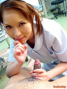 Naughty Japanese Nurse Sucking Patients Dick for Cumshot