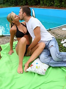 Fabulous Looking Blonde Babe Lena Making Hardcore Sex Near the Pool