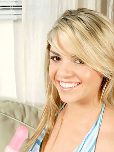 Night Dressed Blonde Teen Playing With Dildo on the Sofa