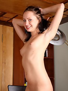 Smiley Hot Brunette Teen Loves In Showing Her Small Clit