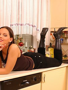 Hungarian Tall Girl Slowly Strips Her Dress in Kitchen
