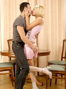 Cute Blonde and Her Sex Partner Making Hardcore On the Chair