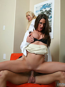 Blonde and Brunette Babes Sharing A Thick Long Dong