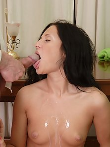 Brunette Babe Getting Cumshot on Her Boobs with Her Teacher Cock