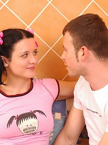 Virgin Girl with Pink Dressed Getting Her First Stroke