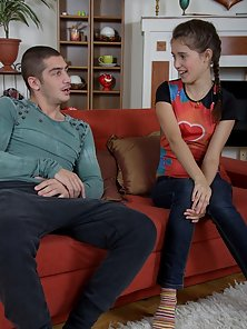 Hunky Handsome Boy Excitedly Pounding Teen Nicole Sexy Tight Vagina on the Bed