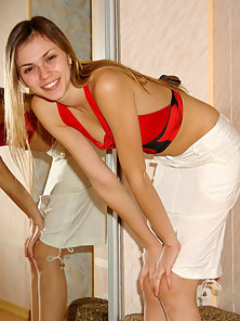 Hottest Girl in Yellow Panty Getting Naked In Front Of Mirror