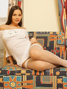 White Stocking Brunette Babe Exposing Slit In Doggy Style Action