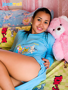 Brunettte Beguiling Girl Joon in White Panty Showing Delicious Ass in Her Bedroom