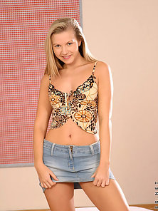 Cute Blonde Teen Babe up Skirting and Rubbing Tits Crazily