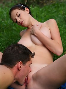 Busty Inna and Her Partner Enjoying Hot Romance in Forest