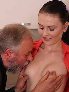 Slim Gorgeous Katia Loves To Ride the Old Man Hairy Cock Crazily