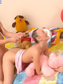 Hot Pigtail Rosebud Fucked in the Doggy Style and Gets Warm Cum in her Face!