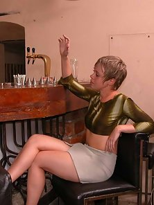 Two Lesbian Babe Lick Kiss and Hammered By Bar Owner
