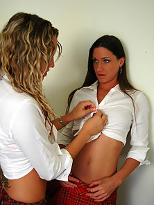 Naughty Teens in School Uniform Licking Pussy Wildly
