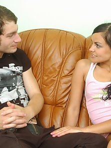 Brunette Babe Shaved Tight Twat Hammered By Hard Cock for Wet