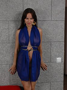 Thin Blue Dress Finally Opened To Show Supple Boobs and Round Fine Ass