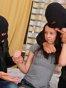 Two Robbers Giving Massive Fuck In Doggy Action a Sexy Teen Dina