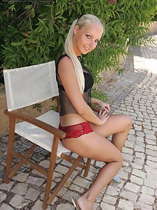 Beautiful Blonde Babe Is Pressing Her Boobs Outdoor Action