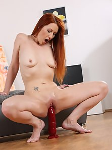 Gorgeous redhead enjoys pussy and anal play