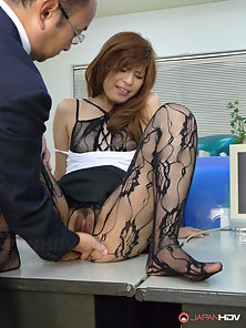 Lusty doll in fishnets Rina Kikukawa fucked on the office desk and creampied