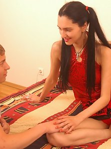 Brunette Pigtailed Girl With Tattooed Riding Hot Cock on Bed