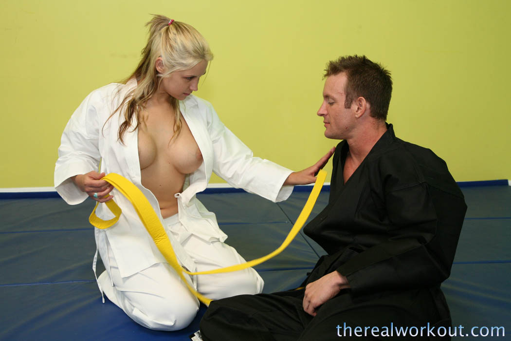 Karate Trainer Merged In Sucking And Fucking Action With The Hot Blonde Babe