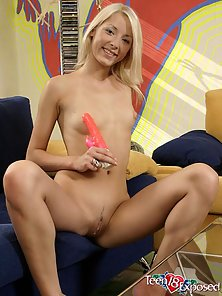 Adorable Blonde Zuzana Spreads Her Pink Twat and Drills by Huge Dildo
