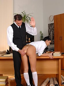 Naughty college girl getting her ass spanked hard