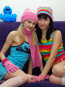Two Skinny Babes Get Naked and Enjoy Lesbian Humping Passion