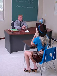 Hot Blonde School Girl Is Fucked By Her Tattooed Teacher in Various Poses
