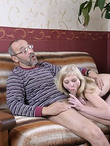Teen Blonde Chick Gets Pumped Hard On Her Grandpa Meaty Dick