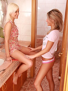 Teen Skinny Lesbian Babe Dildo and Licking Kissing Action In Front Of Mirror