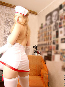 Blonde Nurse Reveals Round Butt and Sexy Body