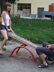 Side Swept Haired Babe Hammered By Huge Stud after Playing Sea Saw