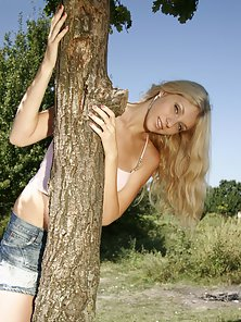 Beautiful Blonde Teen Getting Naked Under the Tree