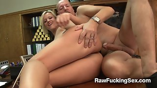 Raw fucking sex - Naughty Blonde Jasmine Jolie rides on her big cock dude in the office
