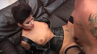 Sweet girl with gloves gets pounded hard in her pussy