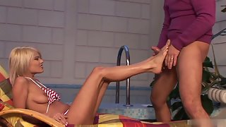 Hot blonde babe satisfies her man with her feet