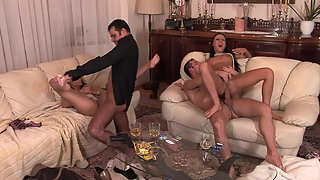 Ass-fuck and pussy-fuck orgy for the lucky boys and lucky sexy babes