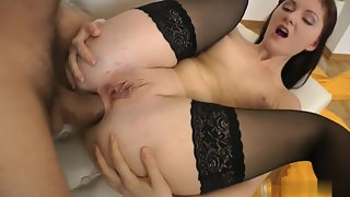 Stocking Wearing Babe Roxana Fucked From Behind