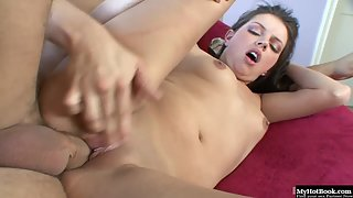 Petite Brunette Missy Stone Provides Arousing Head to Thick Straight Prick