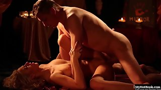 Nathaly Cherie having passionate sex in the dimmed lights