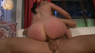Busty pornstar Gianna Michales gets screwed in her hairy pussy