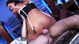 Young nasty in sexy black lingerie gets big cock in her shaved muff