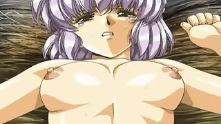 Purple Haired Hentai Girl Sexually Aroused with Young Cock