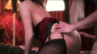 Dark haired beauty enjoys hot sensitive sex with her man