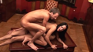 3some dp fuck in the office of horny bosses for sexy young dark-haired naughty